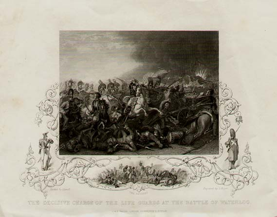 WATERLOO Vignettes from the Battlefield Antique Print 1846