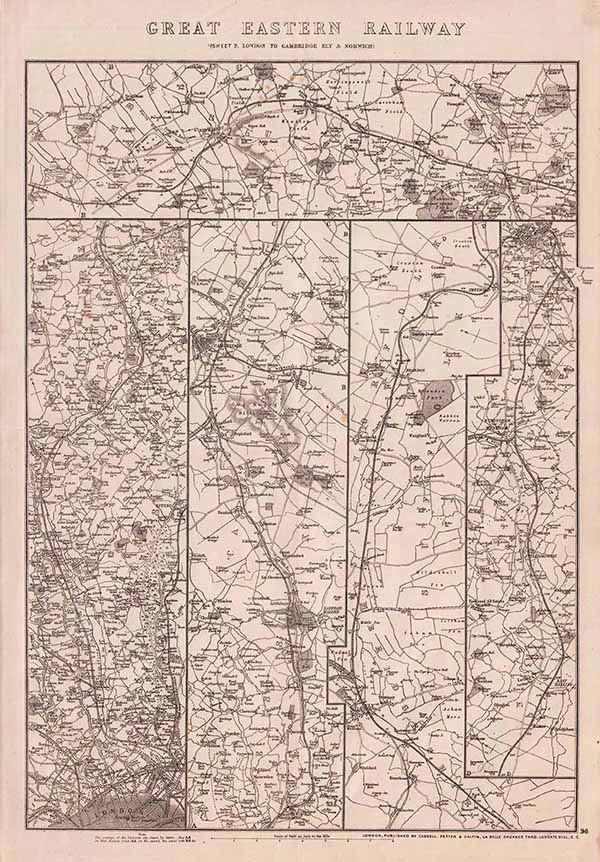 St Albans AYLESBURY and READING Antique Map 1903 by Bartholomew; Windsor