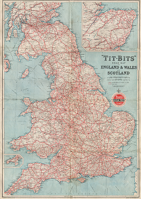 Driving Map Of England And Wales.Enland Maps Antique Prints Maps